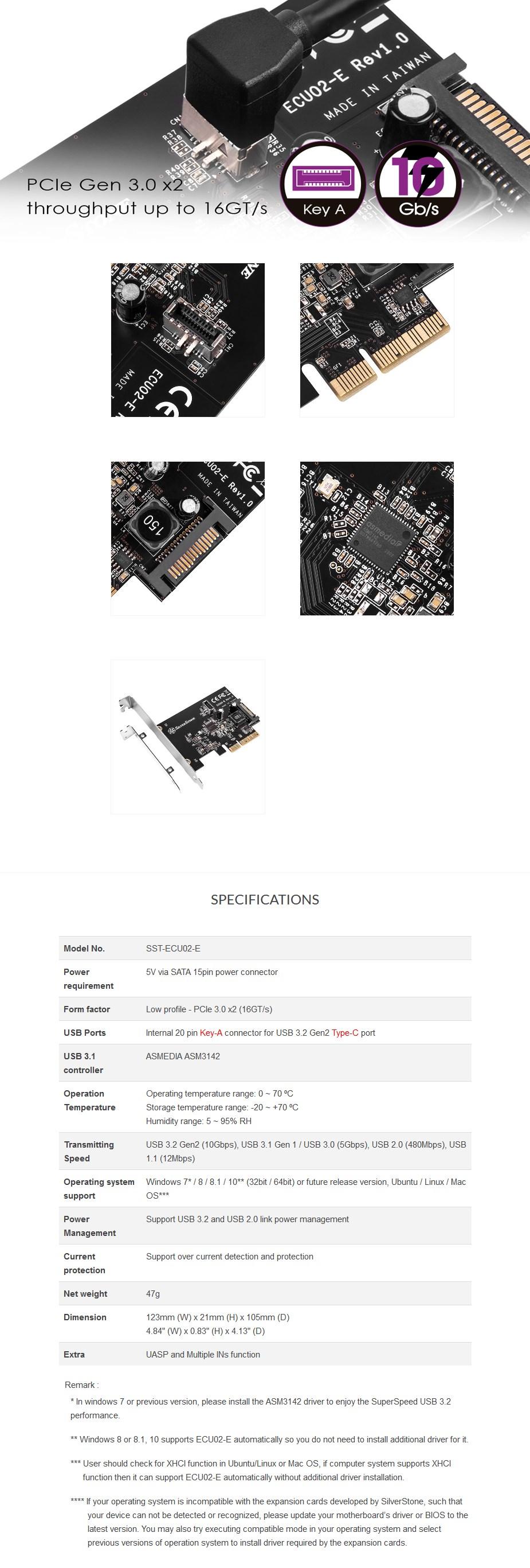 SilverStone SST-ECU02-E USB 3.1 Gen 2 Internal Expansion Card - Overview 1