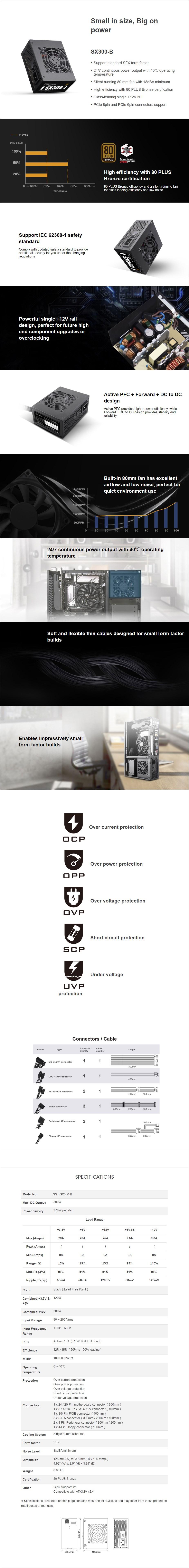 SilverStone SX300-B 300W 80+ Bronze SFX Power Supply - Overview 1