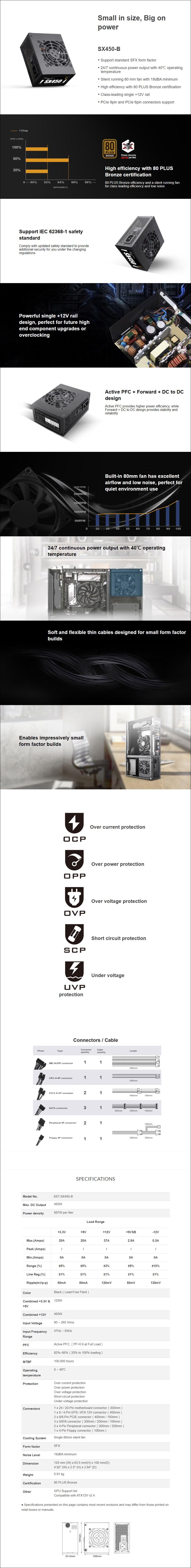 SilverStone SX450-B 450W 80+ Bronze SFX Power Supply - Overview 1