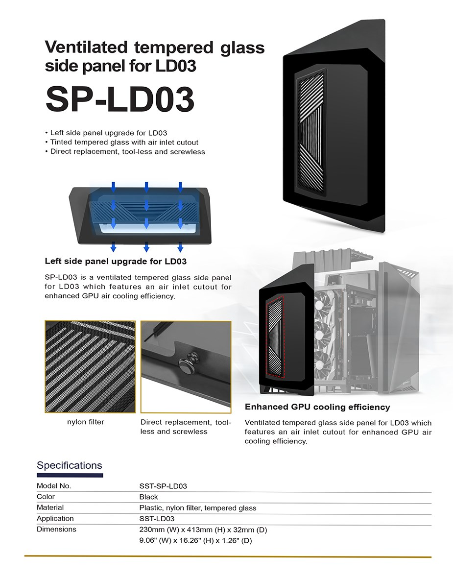 SilverStone Ventilated Tempered Glass Side Panel for LD03 - Overview 1