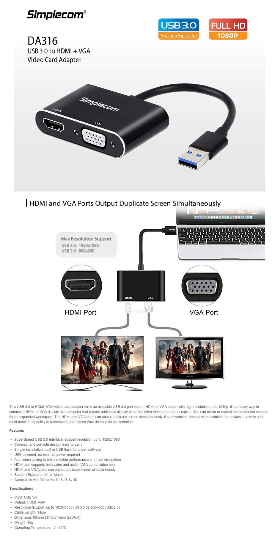 Simplecom DA316 USB 3.0 to HDMI + VGA Adapter - Overview 1