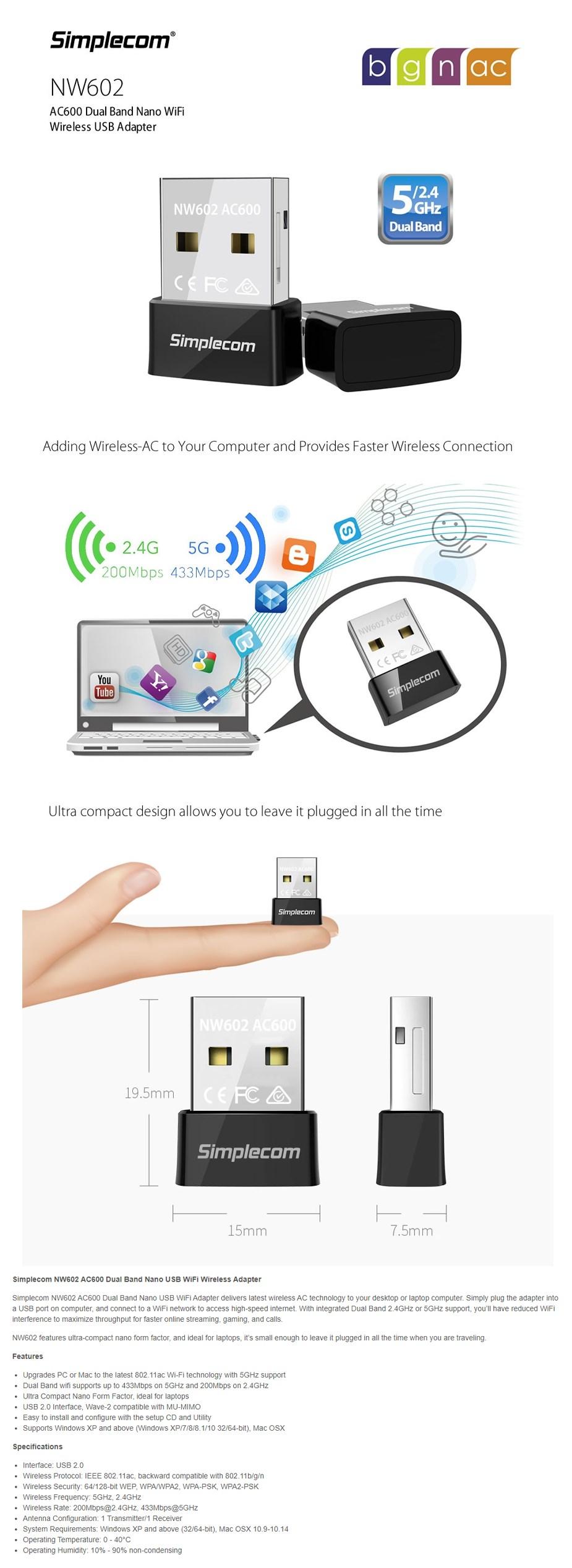 Simplecom NW602 AC600 Dual-Band Nano USB WiFi Adapter  - Overview 1