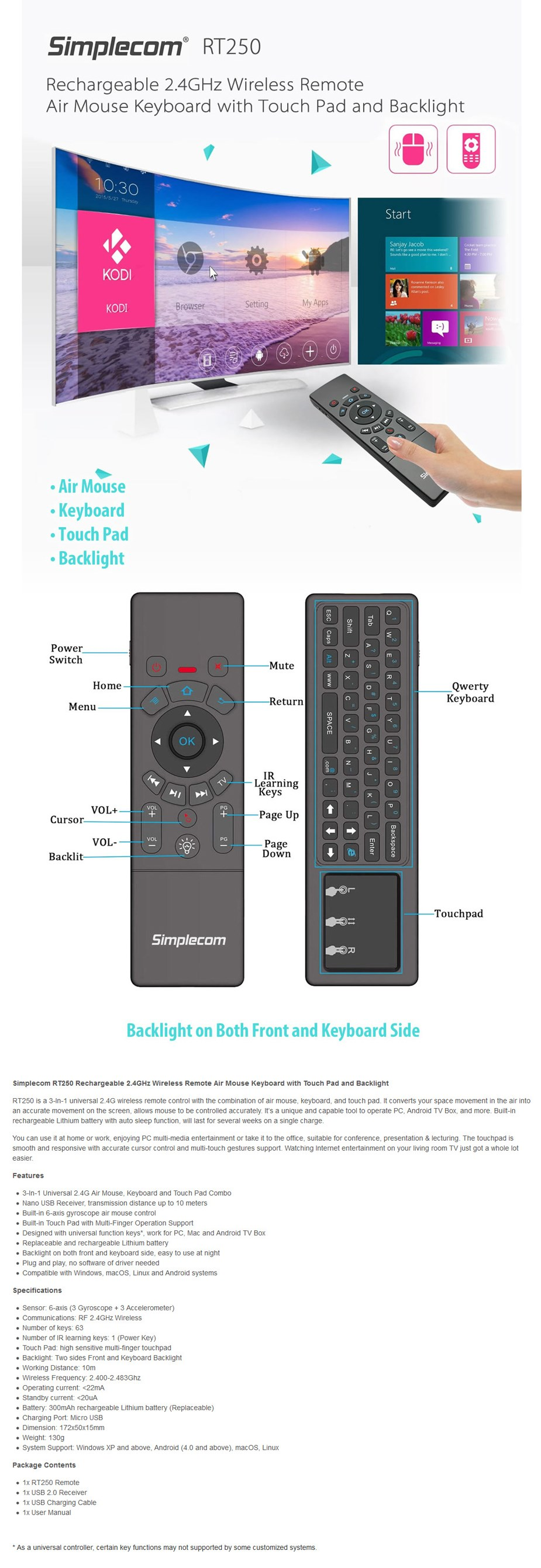 Simplecom RT250 Rechargeable 2.4GHz Wireless Remote - Overview 1