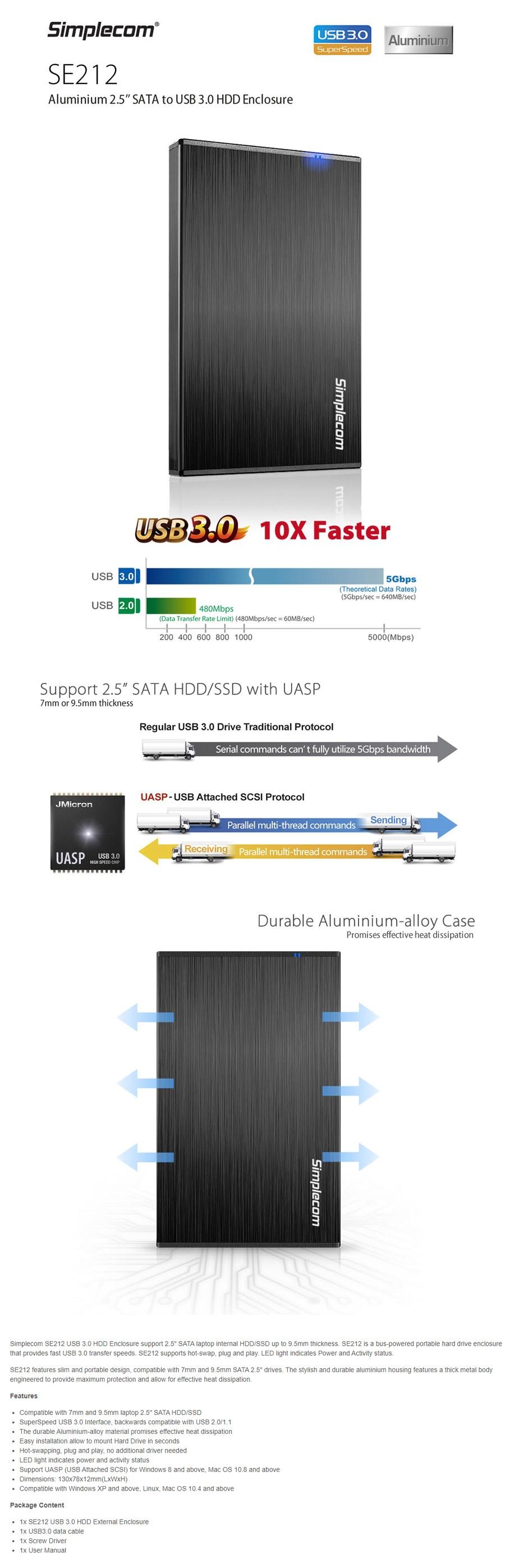 """Simplecom SE212 Aluminium Slim 2.5"""" SATA HDD/SSD USB3.0 Enclosure - Black - Overview 1"""