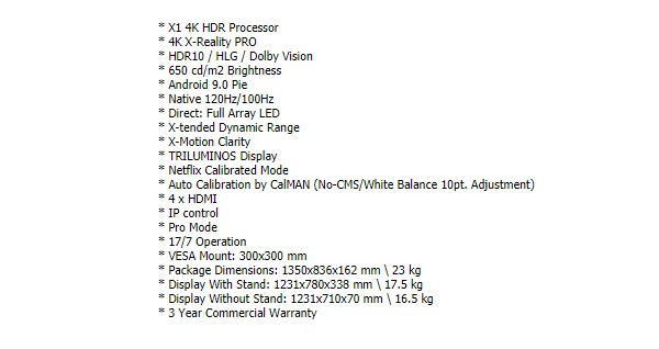 """Sony Bravia FWD-55X90H 55"""" 4K UHD LED Display - Overview 1"""