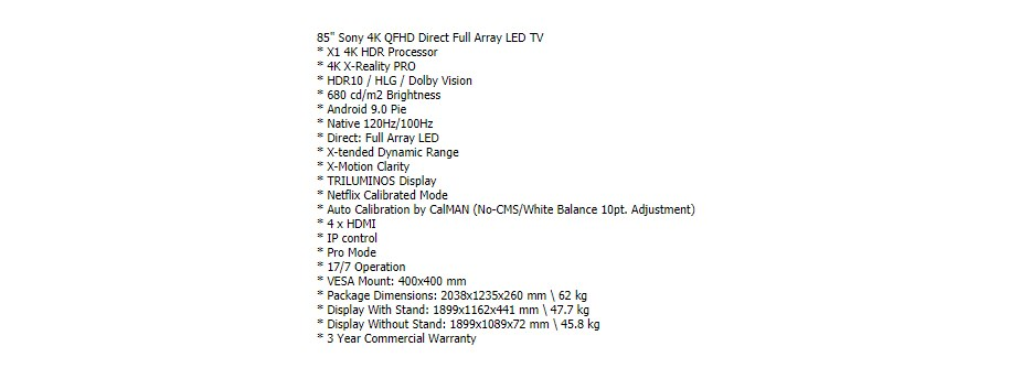 """Sony Bravia FWD-85X90H 85"""" 4K QFHD LED Display - Overview 1"""