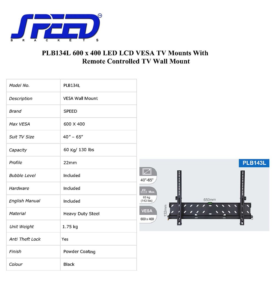 "SPEED PLB134L Fixed Wall Mount for 40"" to 65"" Displays - Overview 1"