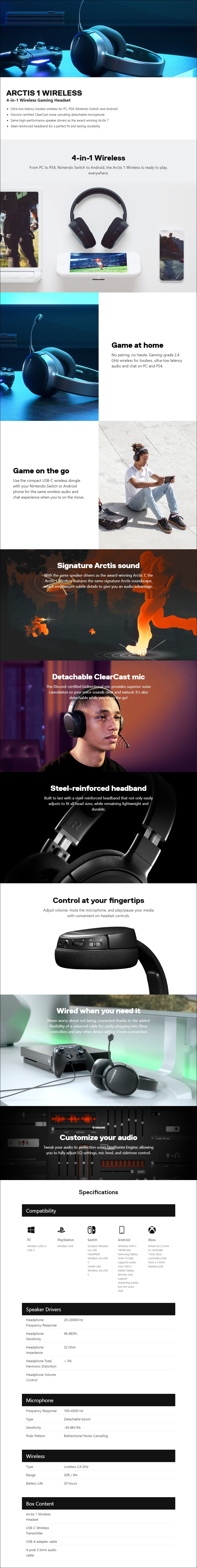SteelSeries Arctis 1 Wireless Gaming Headset - Overview 1