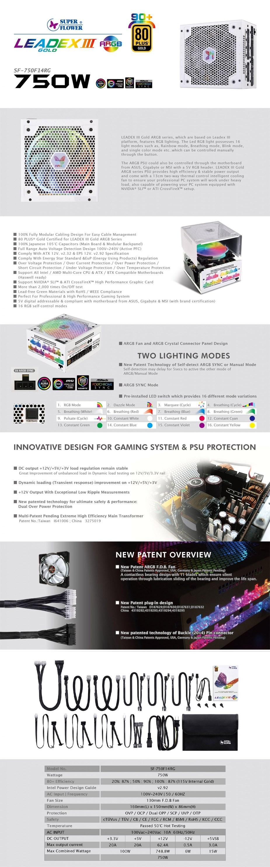 Super Flower Leadex III 750W 80 Plus Gold Fully Modular ARGB Power Supply- Overview 1