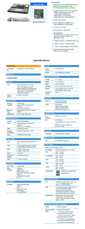 SuperMicro SuperServer 5019C-M Barebone CPU (0/1) RAM (0/4) HDD (0/4) - Overview 1