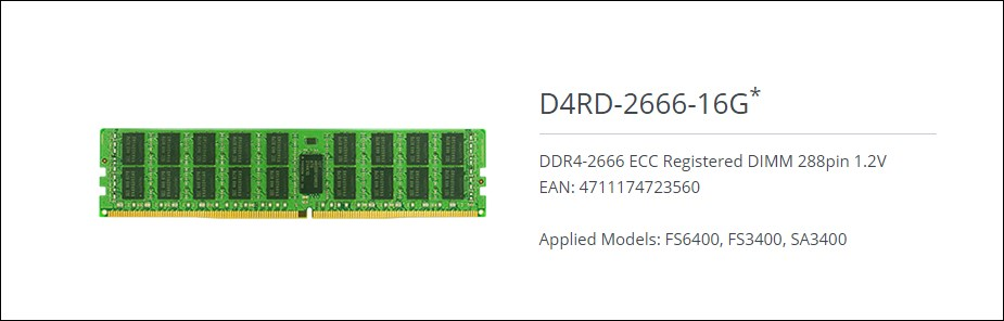 Synology 16GB (1x 16GB) DDR4 2666MHz ECC Memory Module - D4RD-2666-16G - Overview 1