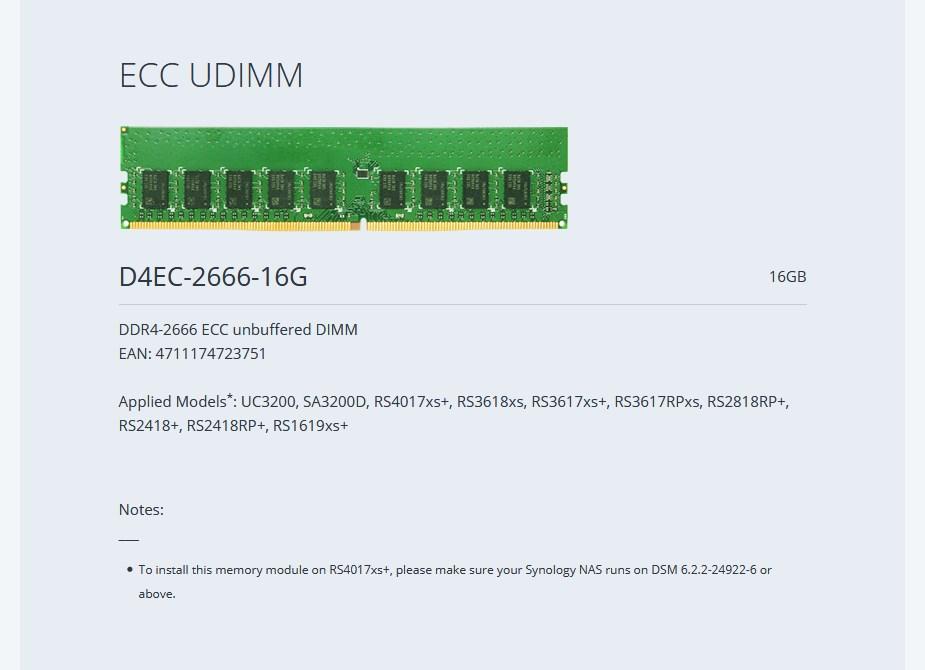 Synology 16GB DDR4 ECC DIMM 2666MHzMemory Module D4EC-2666-16G - Desktop Overview 1