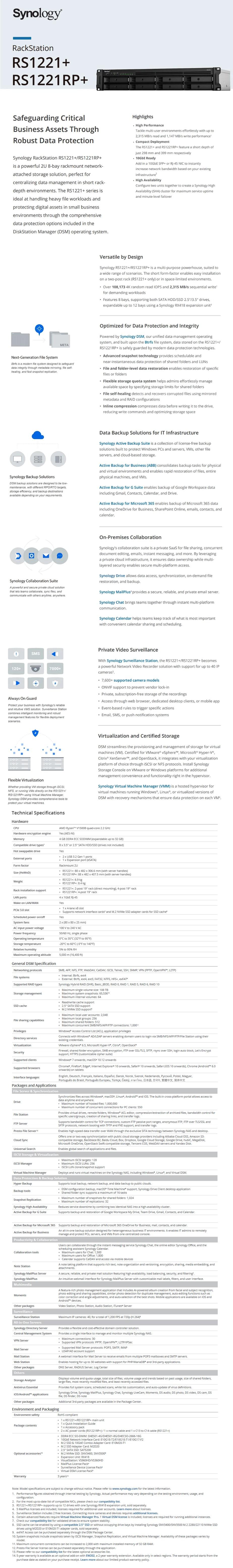 Synology Diskstation RS1221RP+ 8-Bay Diskless NAS Quad Core 2.2GHz 4GB - Desktop Overview 1