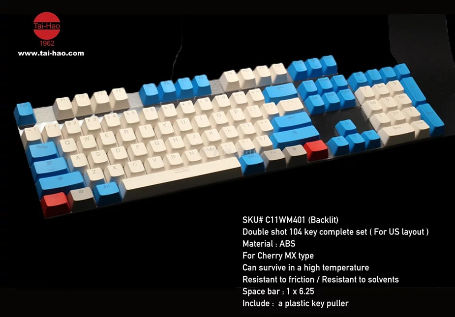 Tai-Hao MX Switch Doubleshot ABS 104-Key ANSI Keycap Set - Vintage White/Blue - Overview 2