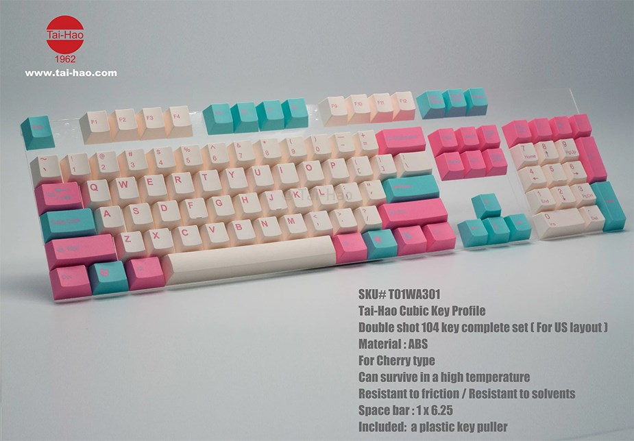 Tai-Hao MX Switch Type Cubic Doubleshot PBT 104-Key ANSI Keycap Set - Blue/Pink - Overview 2