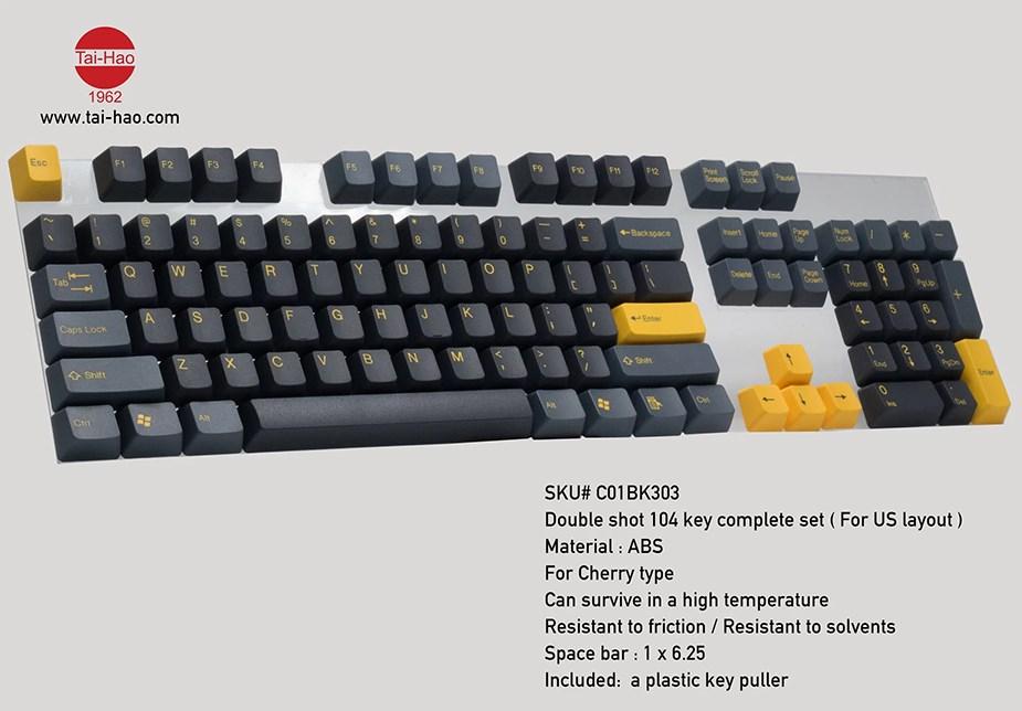 Tai-Hao MX Switch Type Doubleshot PBT 104-Key ANSI Keycap Set - Dark Night - Overview 2