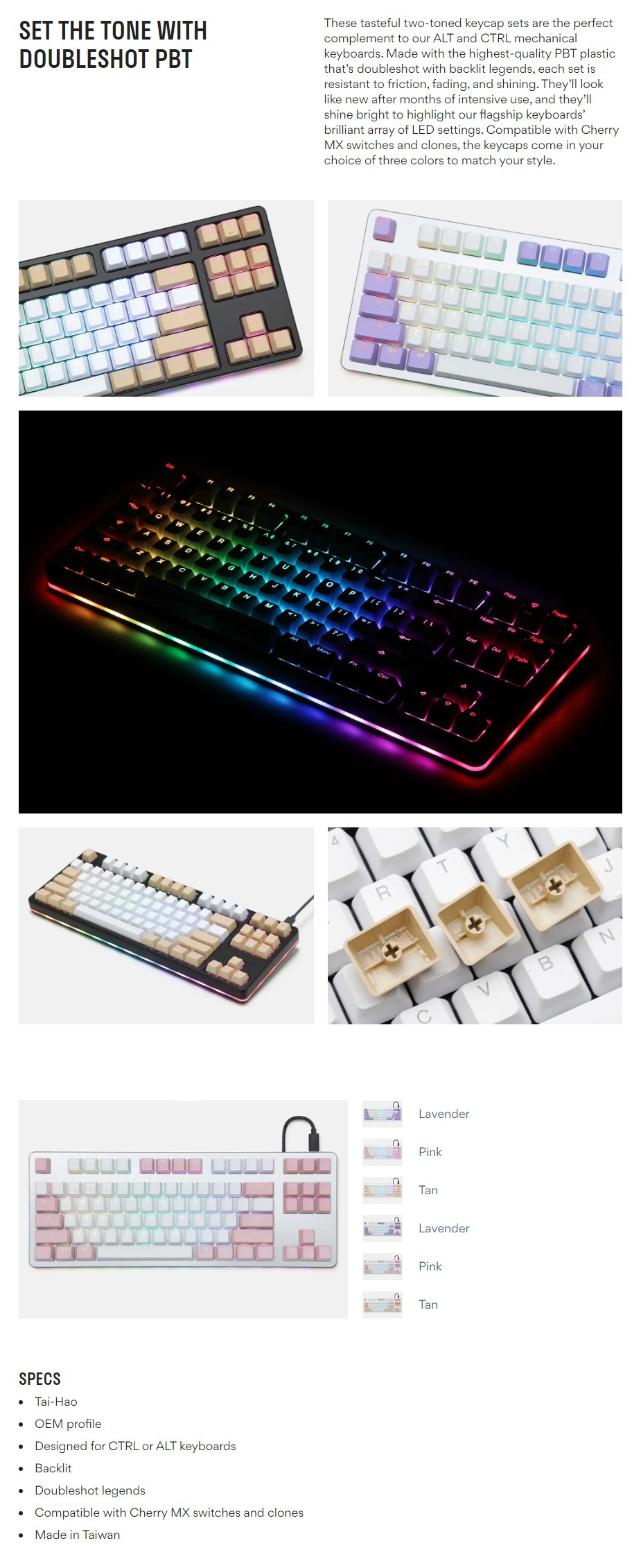 Tai-Hao MX Switch Type Doubleshot PBT 87-Key ANSI Keycap Set - Pink/White - Overview 2