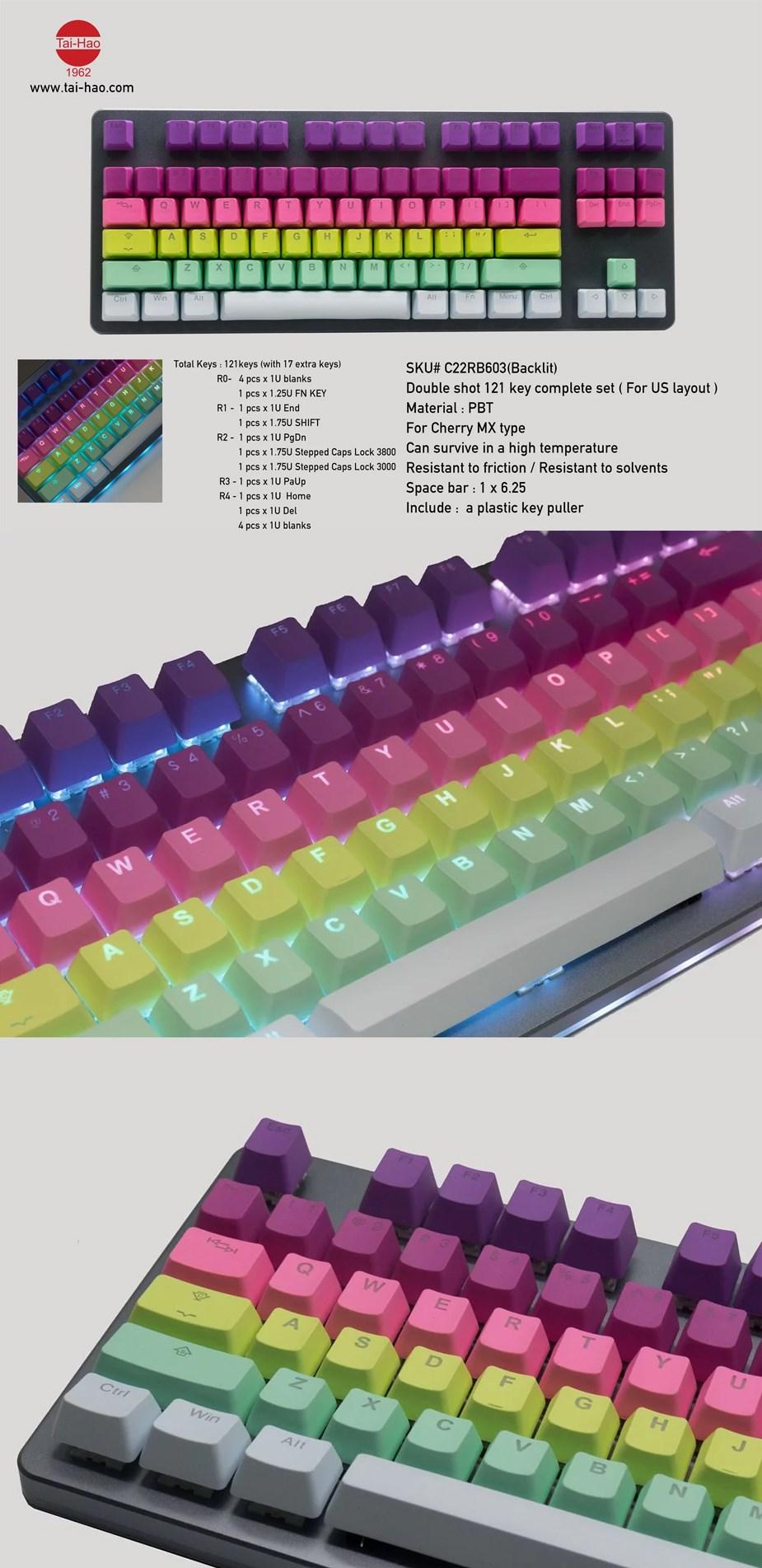 Tai-Hao MX Switch Type Doubleshot PBT Backlit 121-Key Keycap Set Rainbow Sherbet - Overview 1
