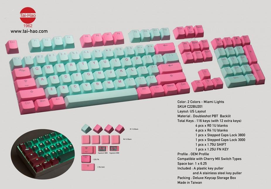 Tai-Hao MX Switch Type Doubltshot PBT Backlit 116-Key Keycap Set - Miami Lights - Overview 1