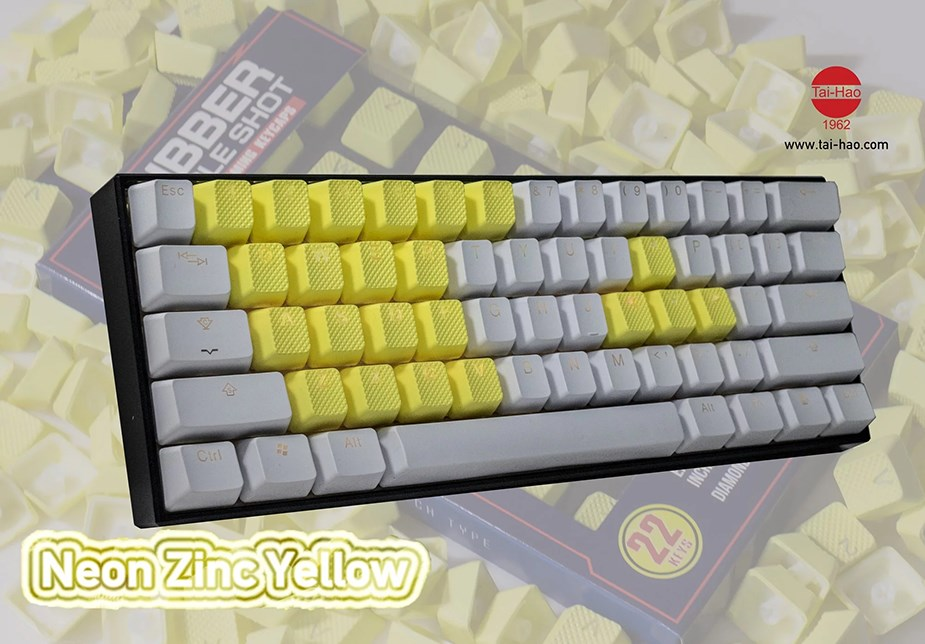 Tai-Hao MX Switches 22-Key Rubberized Gaming Keycap Set - Neon Zinc Yellow - Overview 3