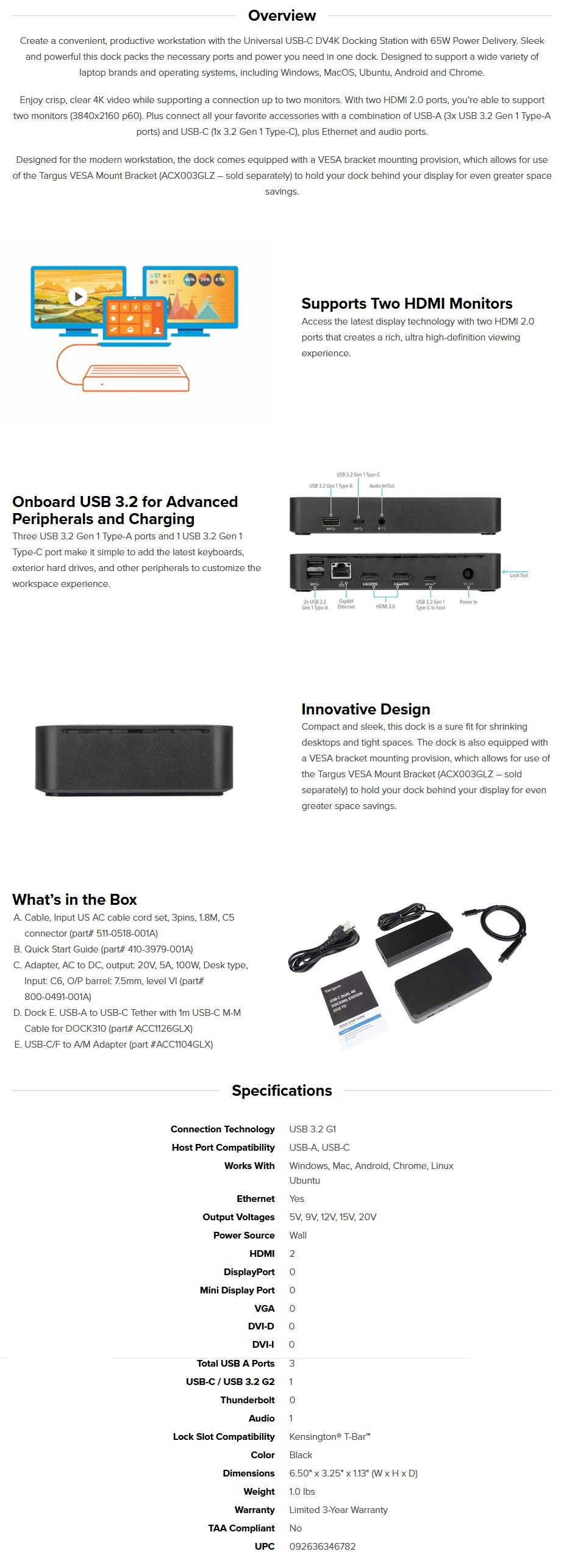 Targus Universal USB-C DV4K Docking Station with 65W Power Delivery - Overview 1