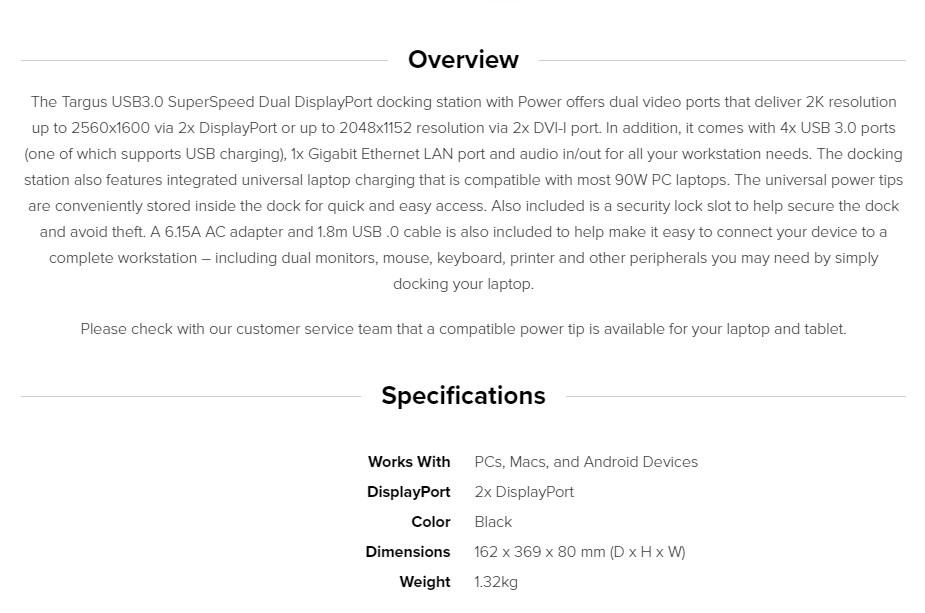 Targus USB 3.0 2K Dual DisplayPort Docking Station with 90W Power ACP7703 - Overview 1