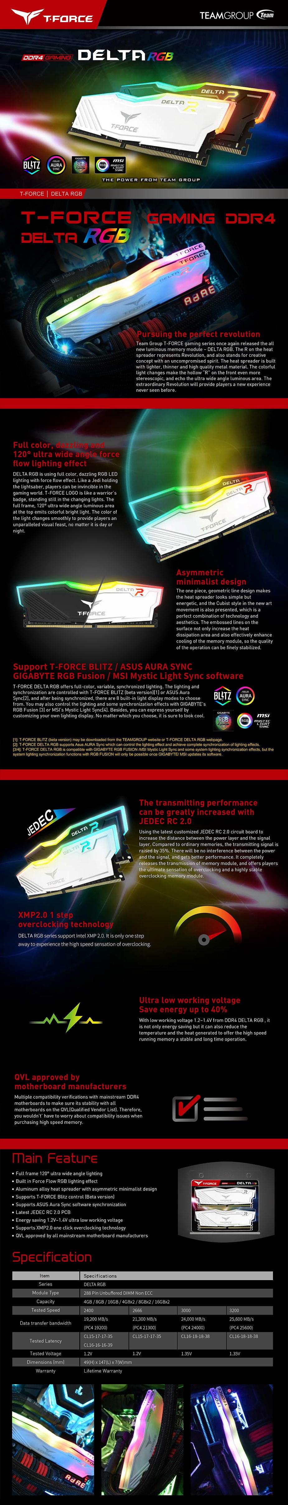 Team T-Force Delta RGB Series 16GB (2x 8GB) DDR4 3200MHz Memory - Black - Overview 1