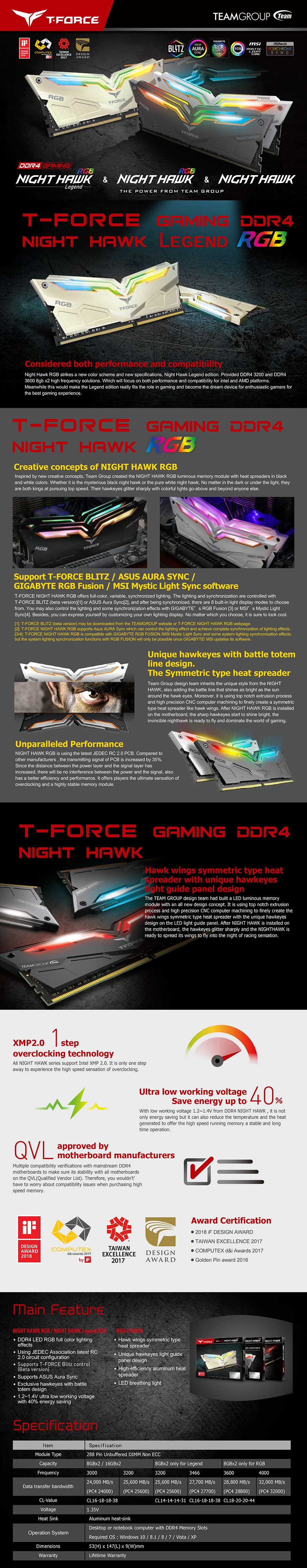 Team T-Force Night Hawk RGB 16GB (2x 8GB) DDR4 3200MHz Memory - Black - Overview 1