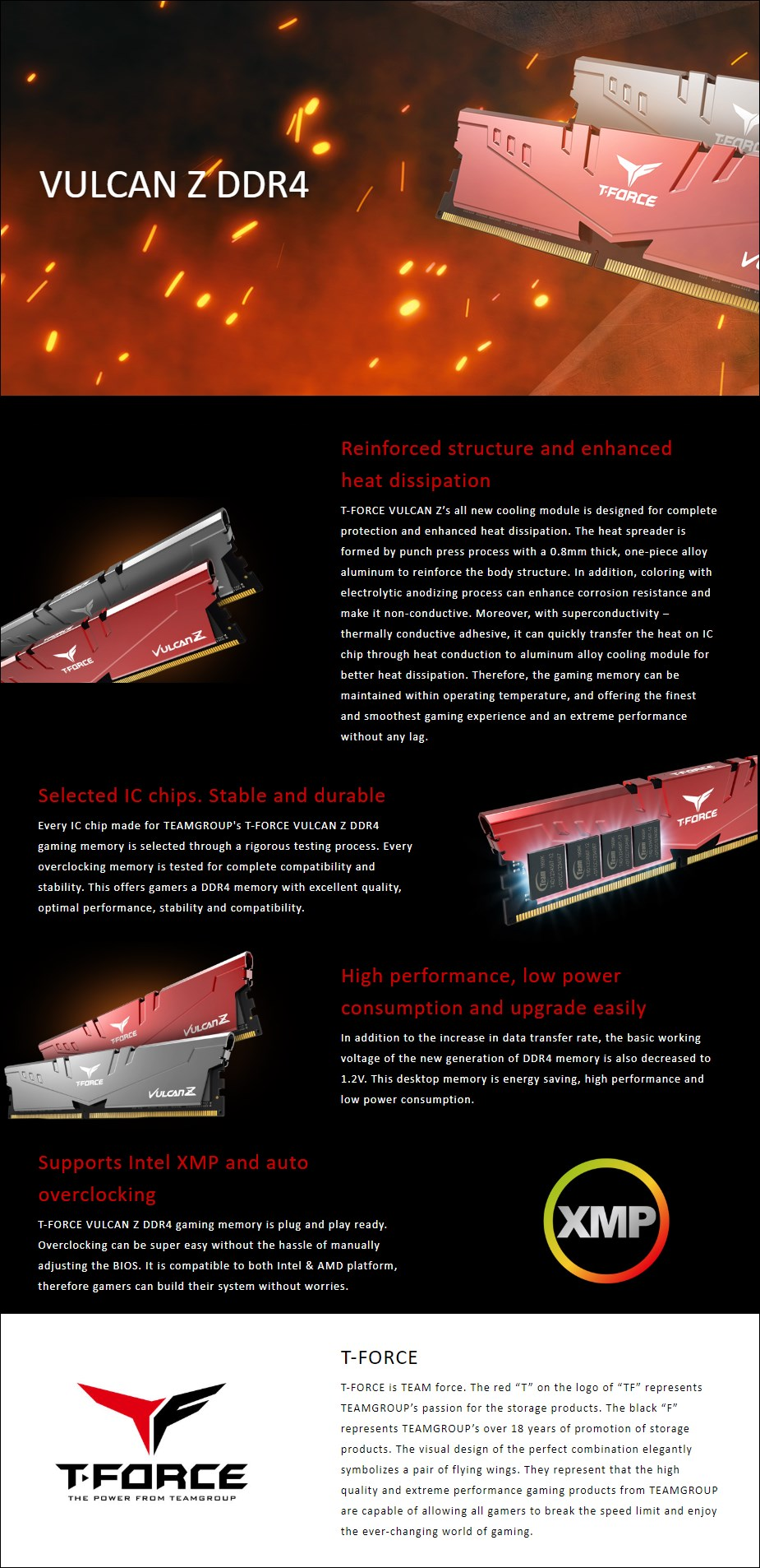 Team T-Force Vulcan Z 16GB (2x 8GB) DDR4 3200MHz Memory - Red - Overview 1