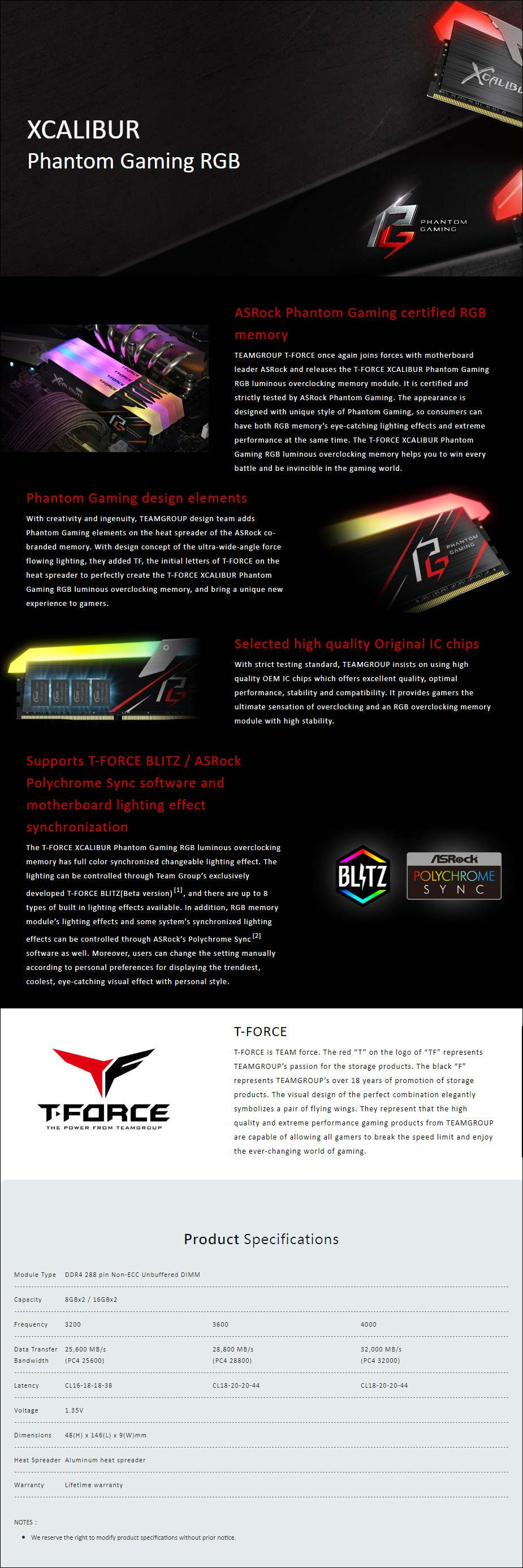 Team T-Force XCALIBUR Phantom RGB 16GB (2x 8GB) DDR4 3200MHz Memory - Overview 1