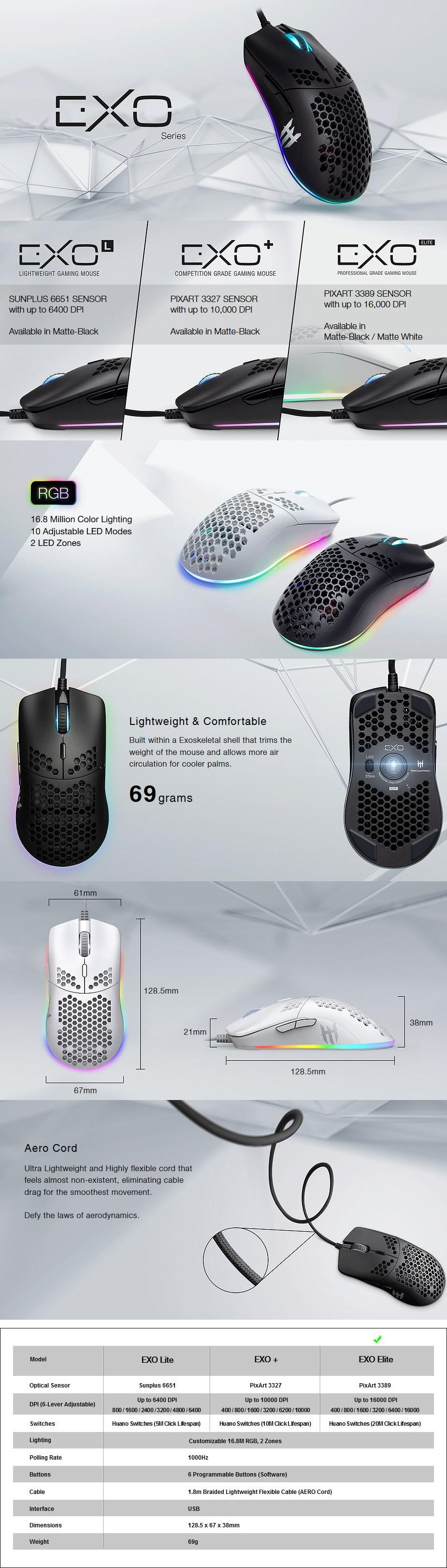 Tecware EXO Elite Optical Gaming Mouse - Matte White - Overview 1