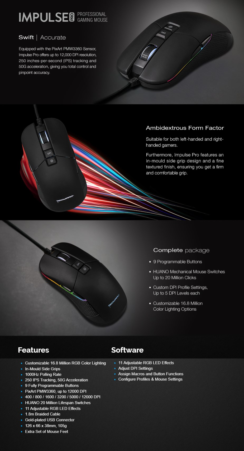 Tecware Impulse Pro RGB Optical Gaming Mouse  - Overview 1