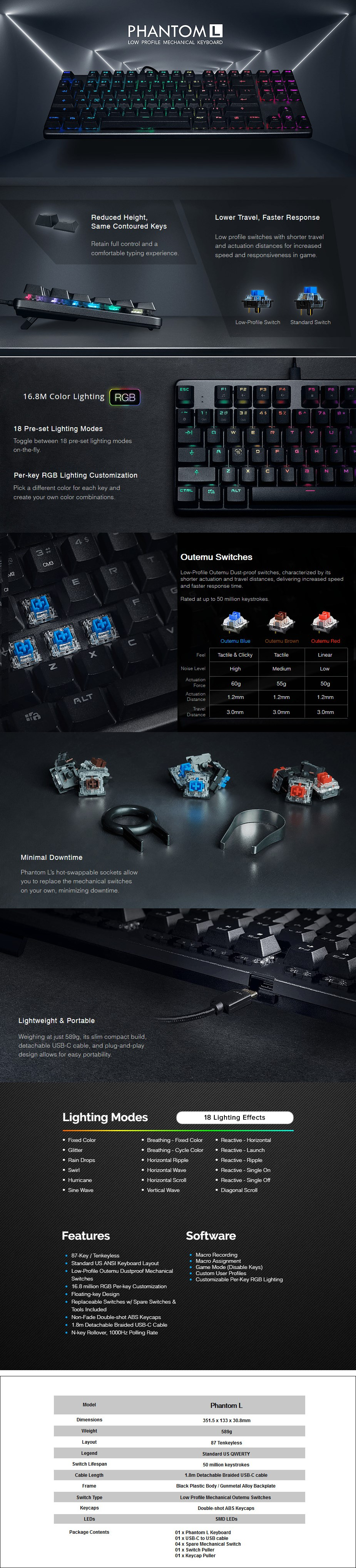 Tecware Phantom L RGB Low Profile Mechanical Gaming Keyboard - Overview 1