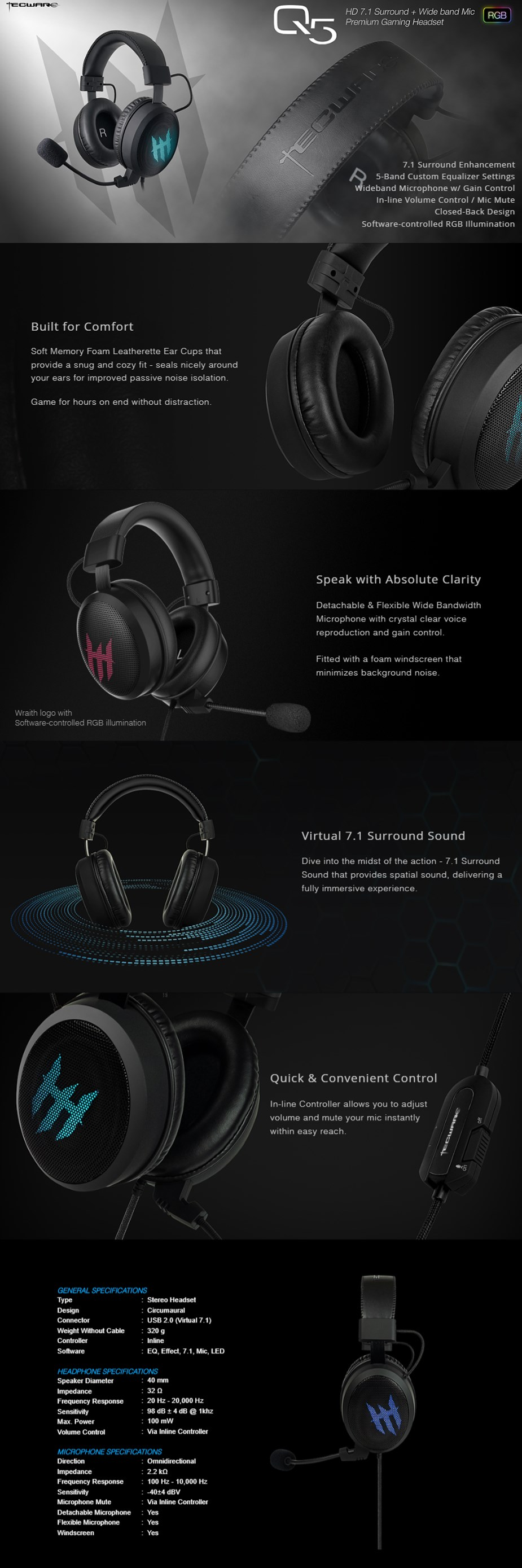 Tecware Q5 7.1 Surround Sound RGB Gaming Headset