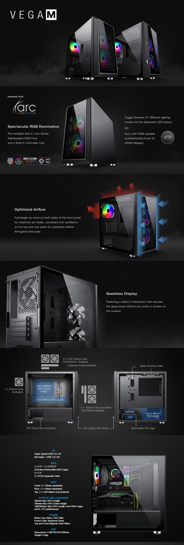 Tecware Vega M RGB Tempered Glass M-ATX Mini-Tower Case - Black - Overview 1