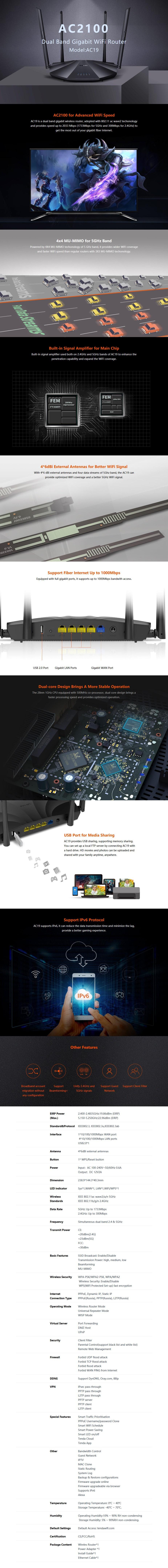 Tenda AC19 AC2100 Dual-Band Gigabit WiFi Router - Overview 1