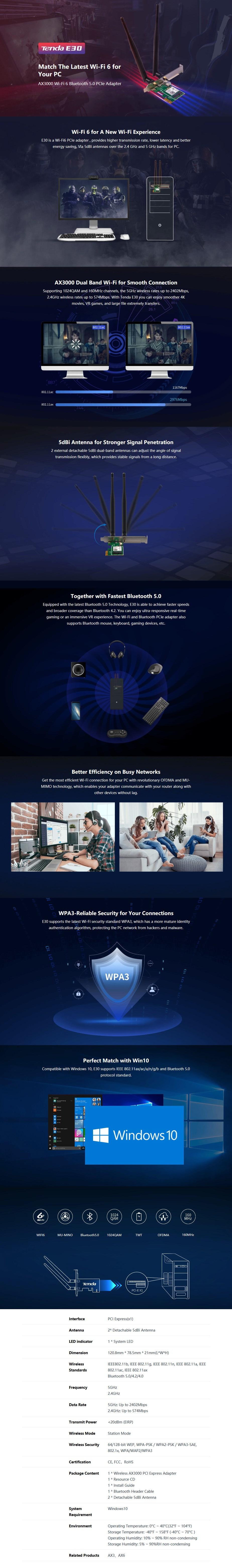 Tenda E30 AX3000 Wi-Fi Bluetooth 5.0 PCIe Adapter - Overview 1