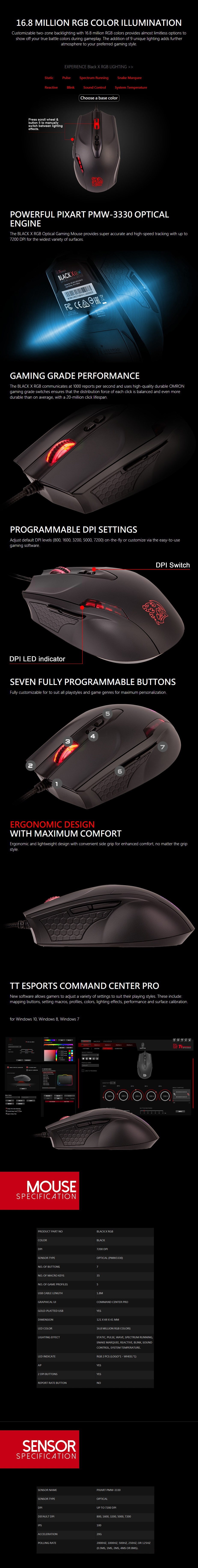 Thermaltake Black X RGB Optical Gaming Mouse - Overview 1
