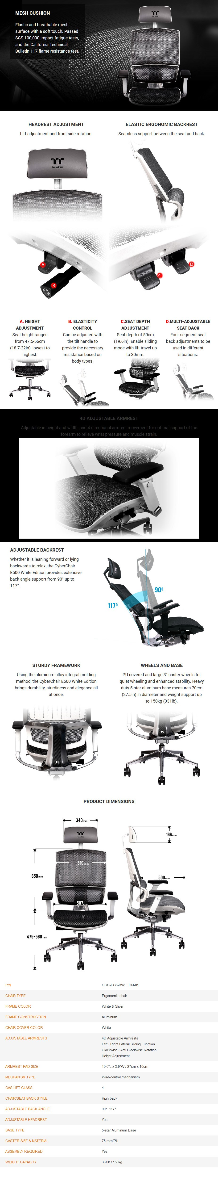 Thermaltake CyberChair E500 Ergonomic Office/Gaming Chair - White - Overview 1