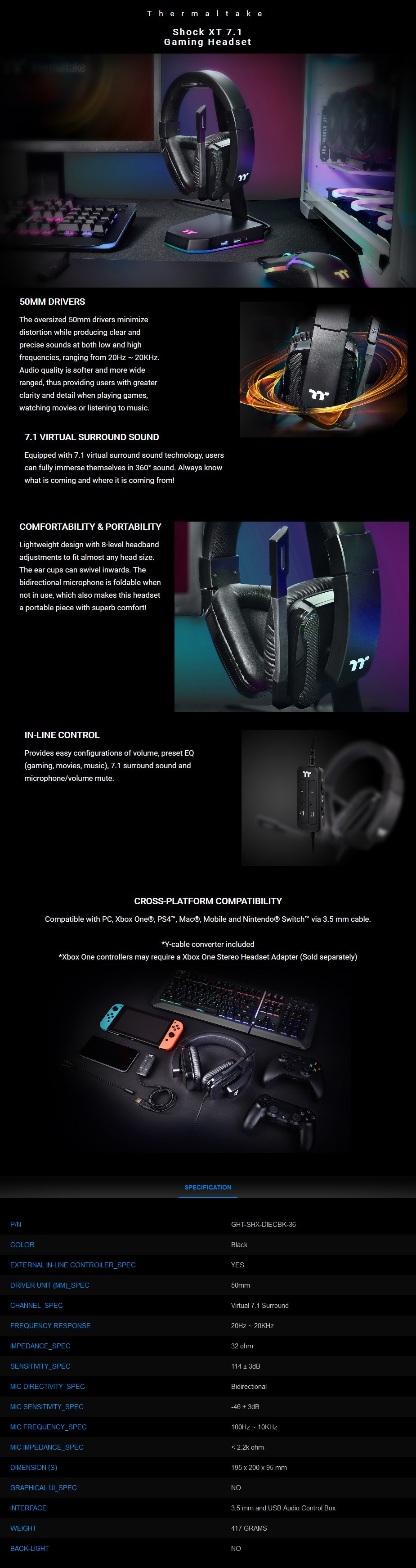 Thermaltake Gaming Shock XT 7.1 USB/3.5mm Gaming Headset - Overview 1