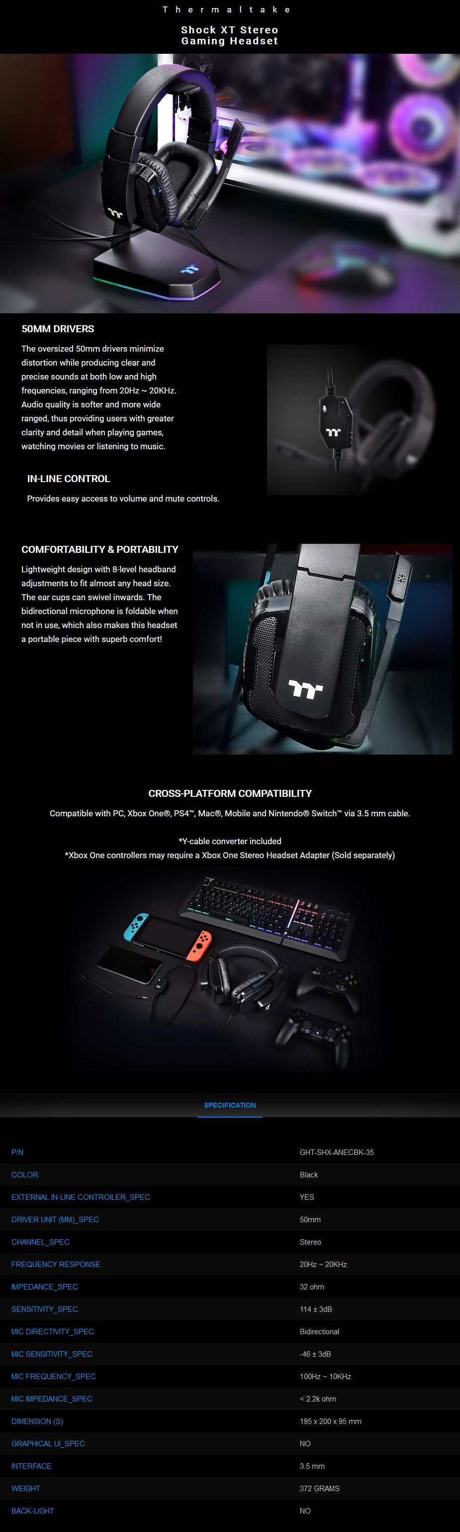 Thermaltake Gaming Shock XT Stereo Gaming Headset - Overview 1