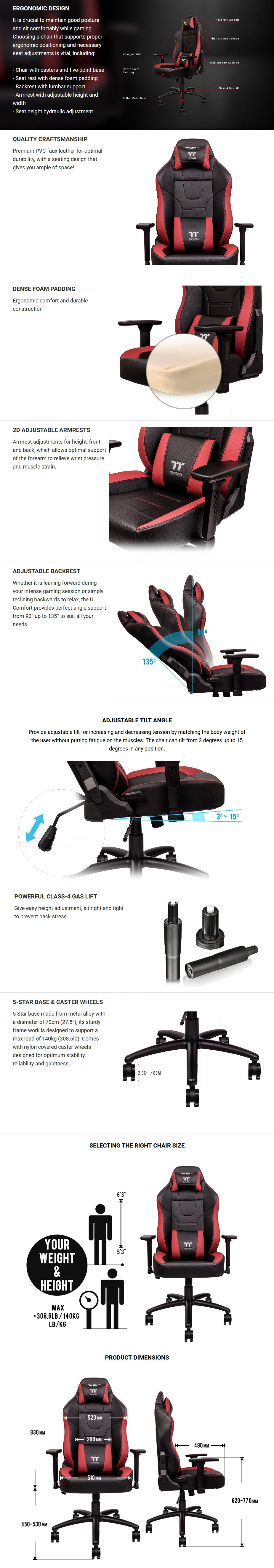 Thermaltake Gaming U Comfort Office/Gaming Chair - Black/Red - Overview 1