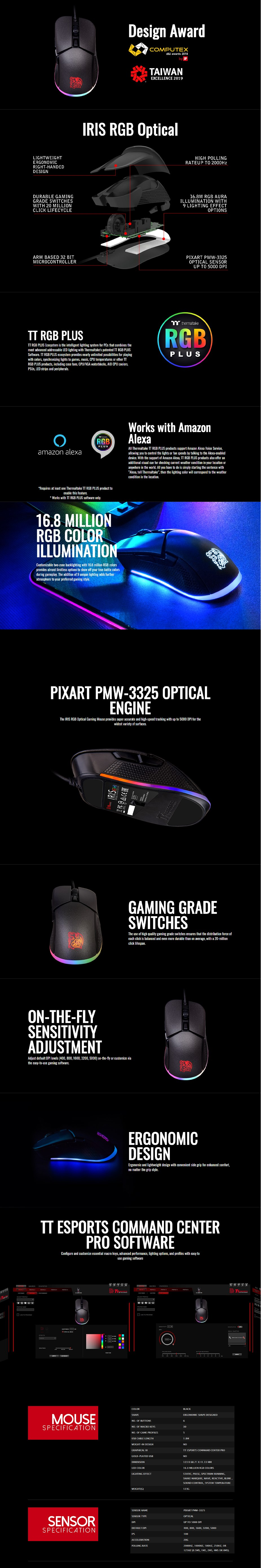 Tt eSPORTS Iris Optical RGB Gaming Mouse - Overview 1