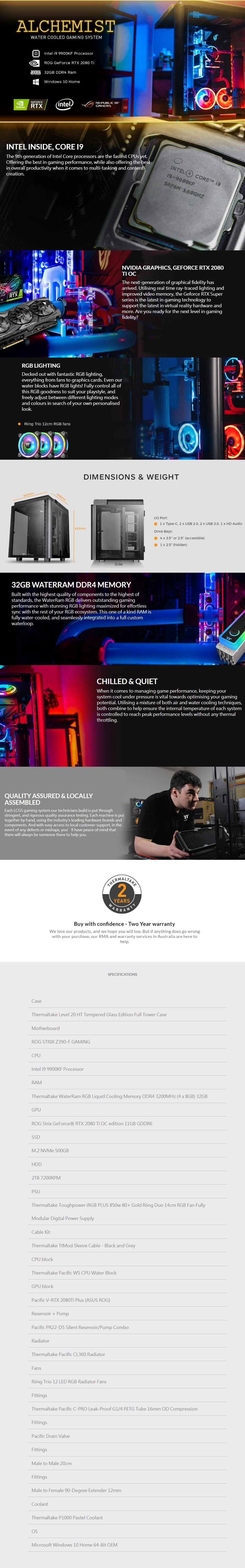 Thermaltake LCGS Alchemist Gaming PC i9-9900KF 32GB 500GB+2TB RTX2080Ti W10H - Overview 1