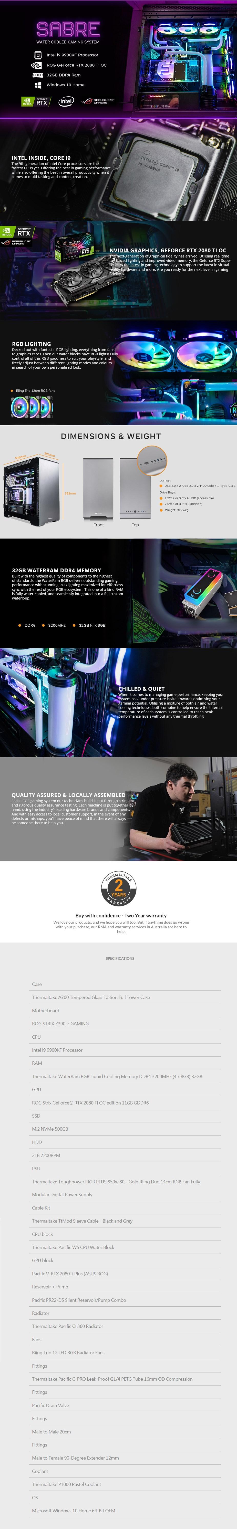 Thermaltake LCGS Sabre Gaming PC i9-9900KF 32GB 500GB+2TB RTX2080Ti W10H - Overview 1