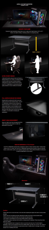 Thermaltake Level 20 GT Height Adjustable BattleStation Gaming Desk - Overview 1