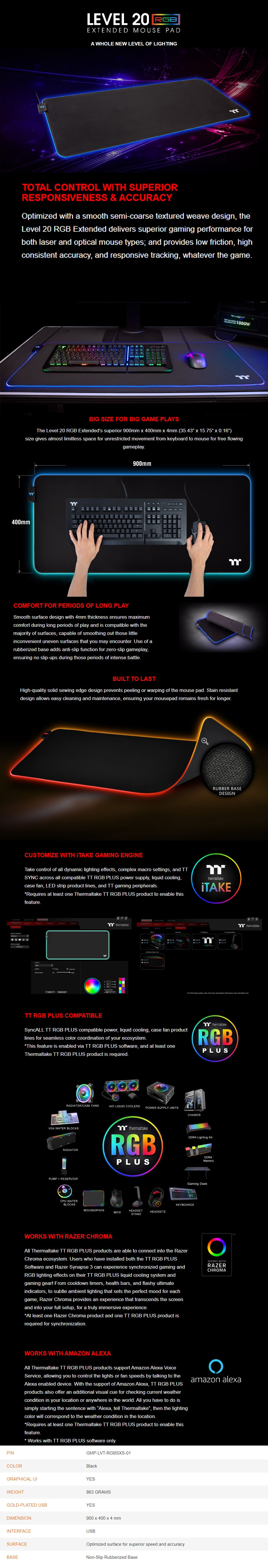 Thermaltake Level 20 RGB Extended Gaming Mouse Pad - Overview 1