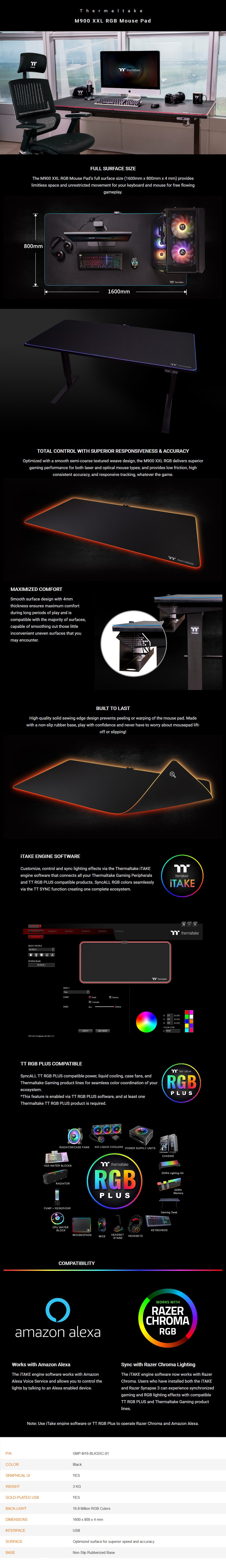 Thermaltake M900 XXL RGB Extended Gaming Mouse Pad - Overview 1