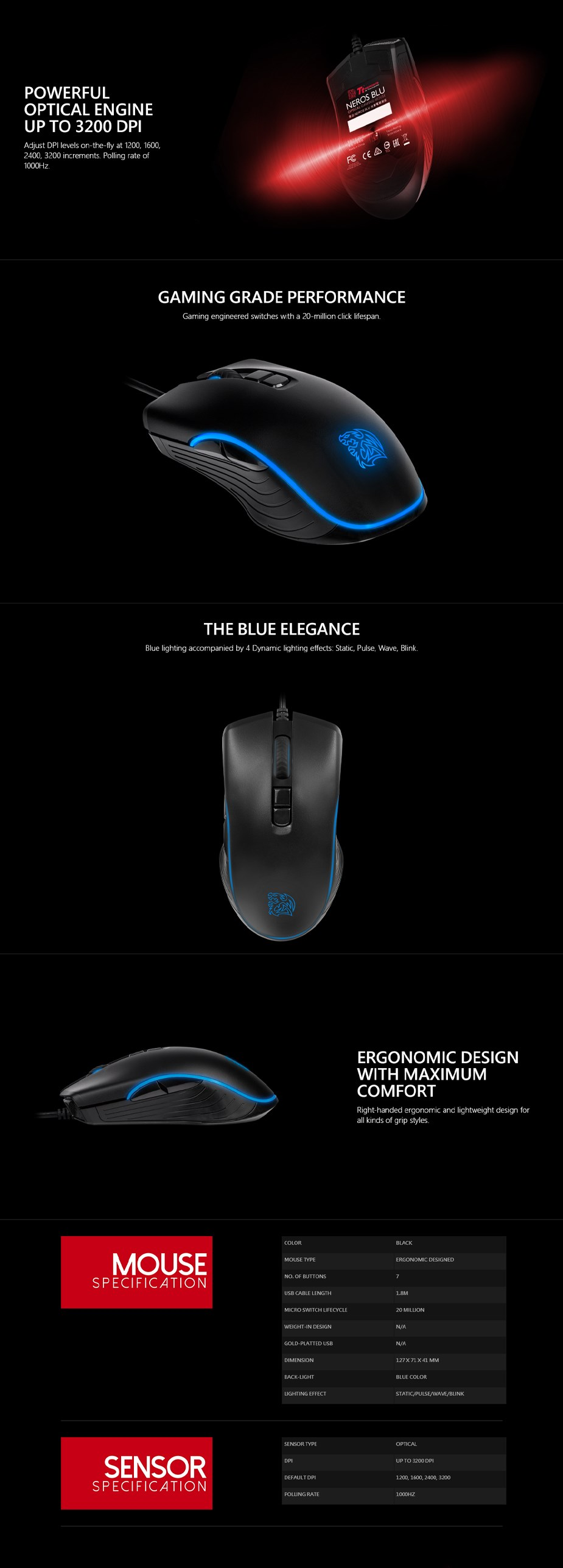 Tt eSPORTS Neros Blu Optical Gaming Mouse  - Overview 1
