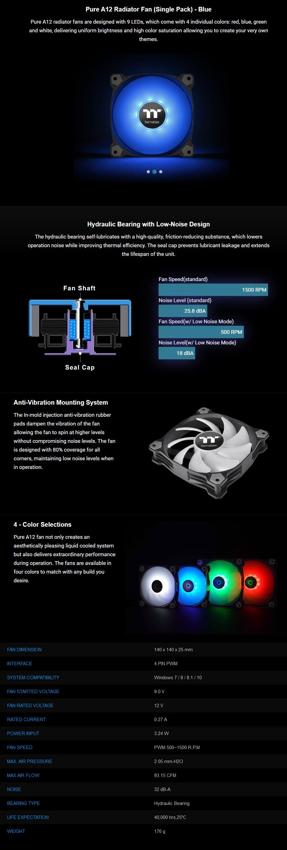 Thermaltake Pure A12 120mm LED Radiator Fan - Blue - Overview 1